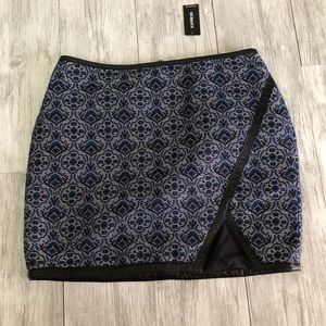 Express Blue Damask Print Mini Skirt